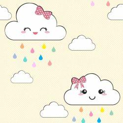OUTLET - 1 Rolo de Papel de Parede Nuvens Cute 0,60 x 2,00 metros