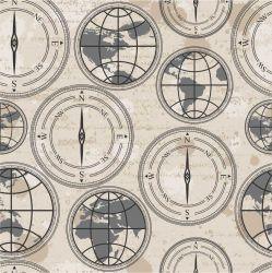 OUTLET - 2 Rolos de Papel de Parede Bússola 0,60 x 2,50 metros