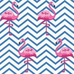 OUTLET - 2 Rolos de Papel de Parede Chevron Flamingo 0,60 x 2,50 metros