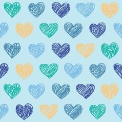 Papel de Parede Corações Blue