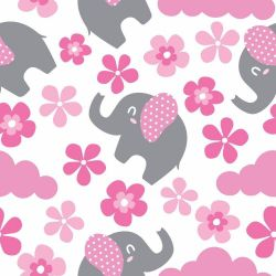 Papel de Parede Elefante Flores