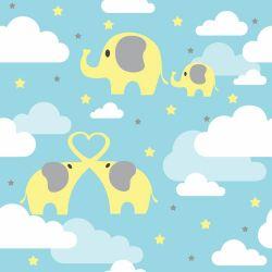 Papel de Parede Elefantes nas Nuvens Soft