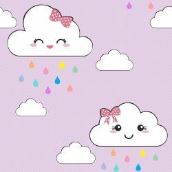 Papel de Parede Nuvens Cute Lilás