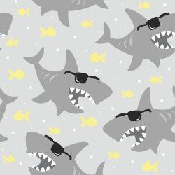 Papel de Parede Tubarões Óculos Gray