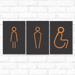Placa Decorativa Banheiro Orange