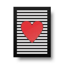 Placa Decorativa Coração Listras