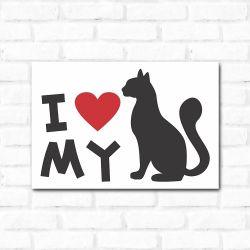 Placa Decorativa I Love My Cat