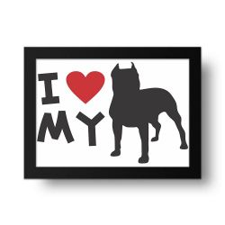 Placa Decorativa I love My PitBul