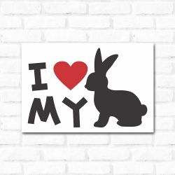 Placa Decorativa I Love My Rabbit