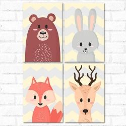 Placa Decorativa Kit Animals Cute