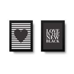 Placa Decorativa Kit Love is The New Black
