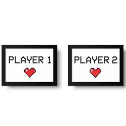 Placa Decorativa Kit Player 1 Player 2