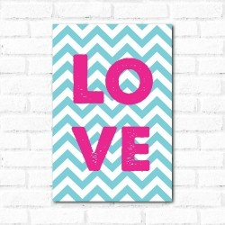 Placa Decorativa Love Chevron
