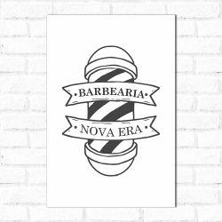 Placa Decorativa Personalizado Barbearia Branco