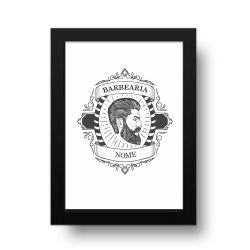 Placa Decorativa Personalizado Barber Shop Preto