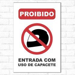 Placa Decorativa Proibido Capacete