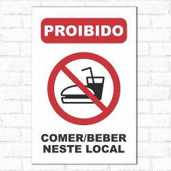 Placa Decorativa Proibido Comer e Beber