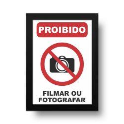 Placa Decorativa Proibido Filmar ou Fotografar