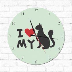 Relógio Decorativo I love My Cat