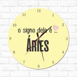 Relógio Decorativo O Signo dela é Aries
