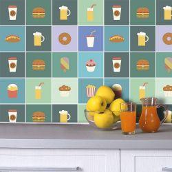Saldão - Adesivo de Azulejo Fast Food 15x15 cm