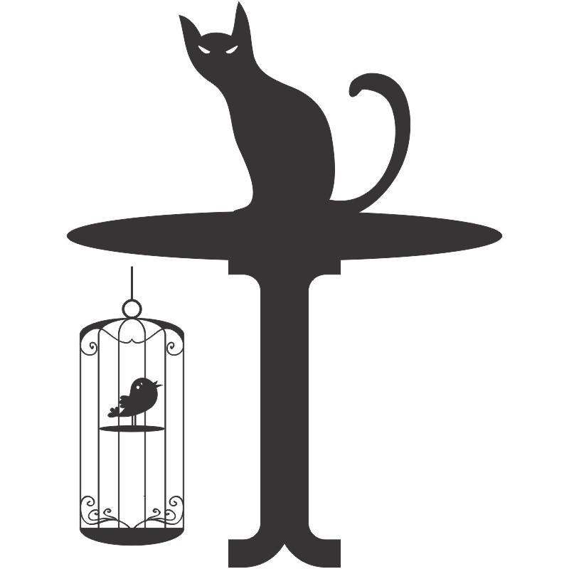 Adesivo de Geladeira Gato com Pássaro