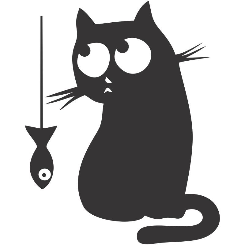 Adesivo de Geladeira Gato e Peixe