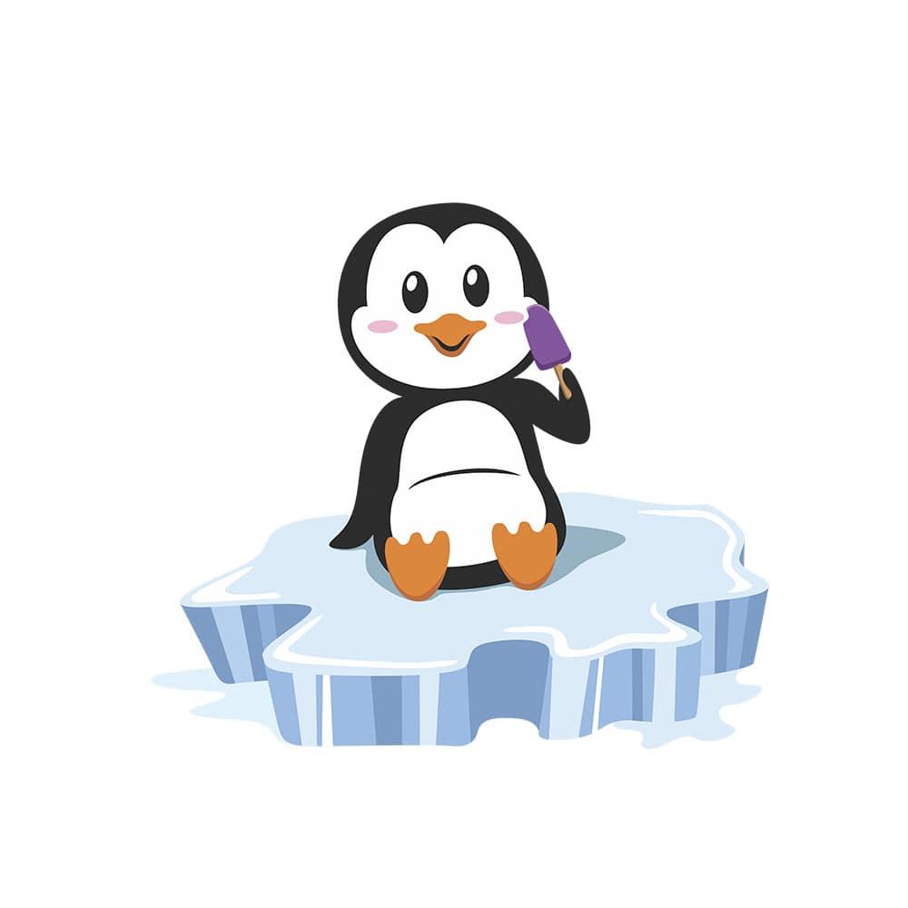 Adesivo de Geladeira Pinguim Sorvete