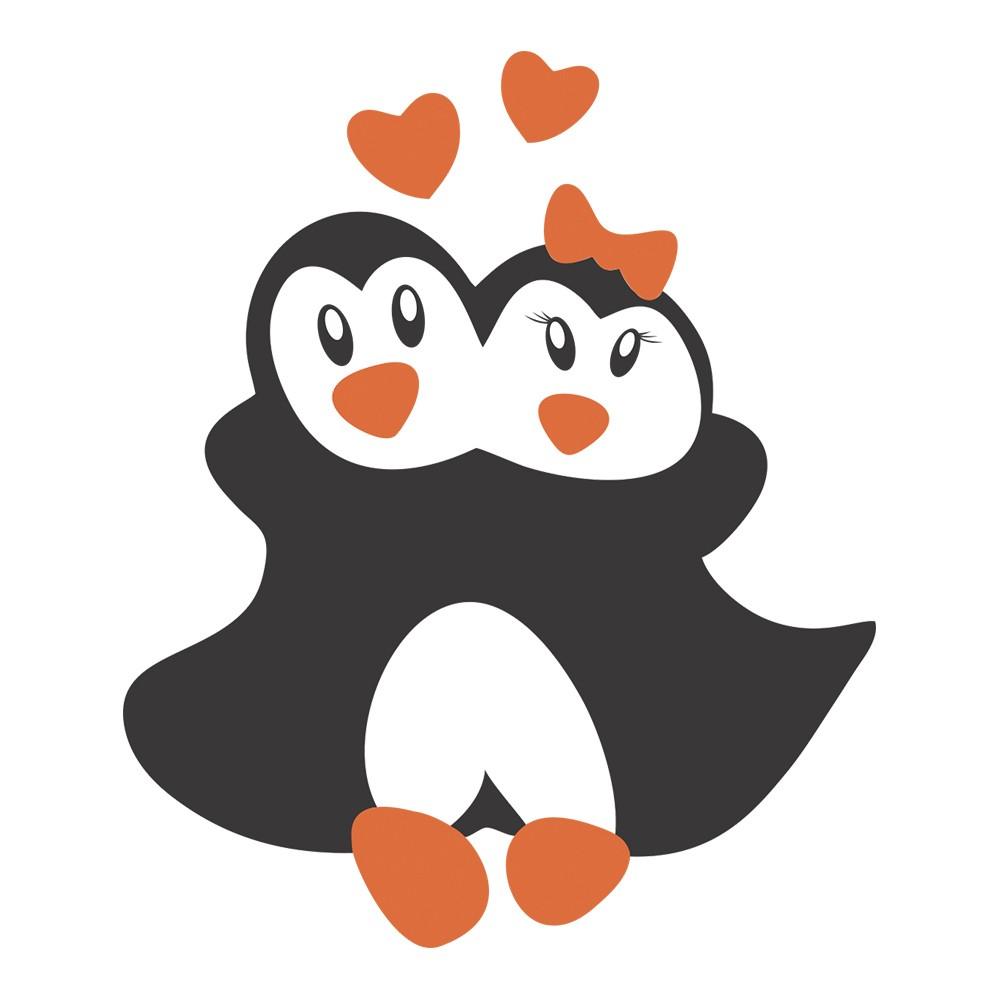 Adesivo de Geladeira Pinguins Abraçados
