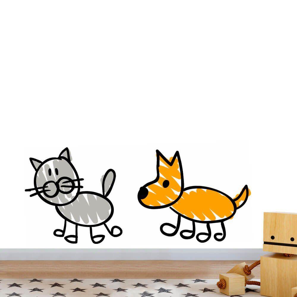 Adesivo de Parede Gato Cachorro Desenho