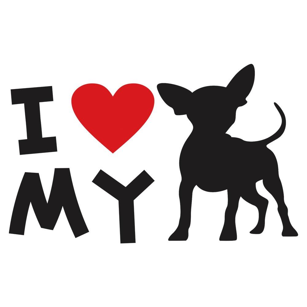 Adesivo de Parede I love my Chihuahua