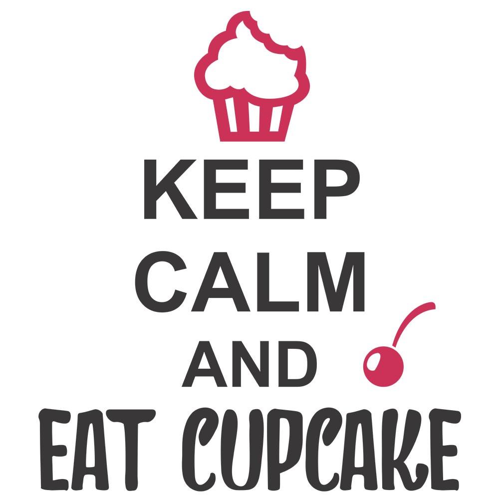Adesivo de Parede Keep Calm and Eat Cupcake