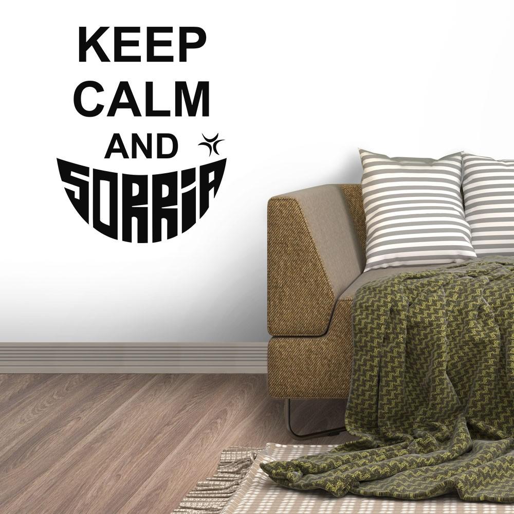 Adesivo de Parede Keep Calm and Sorria