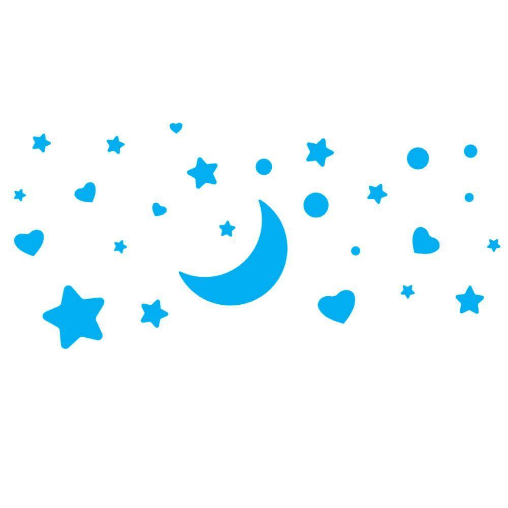 Adesivo de Parede Kit Lua e Estrelas