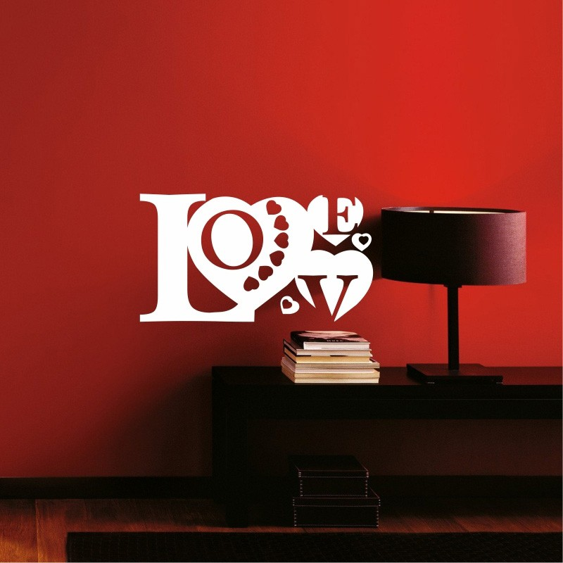 Adesivo de Parede Love corações