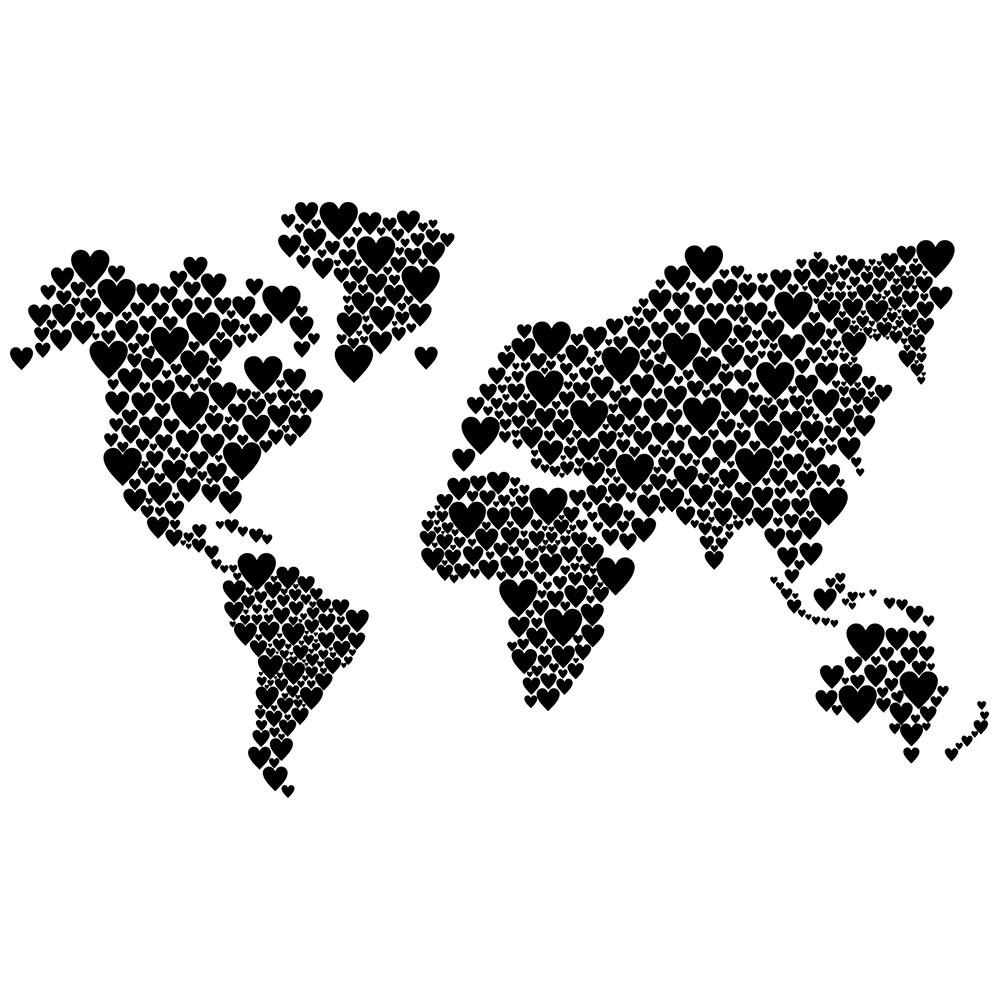 Adesivo de Parede Mapa Heart