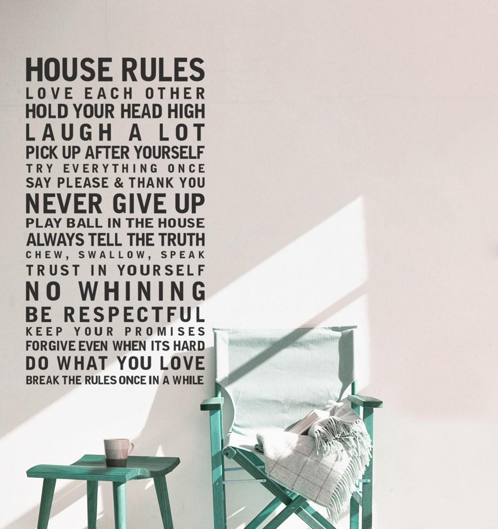 Adesivo de Parede Regras da Casa