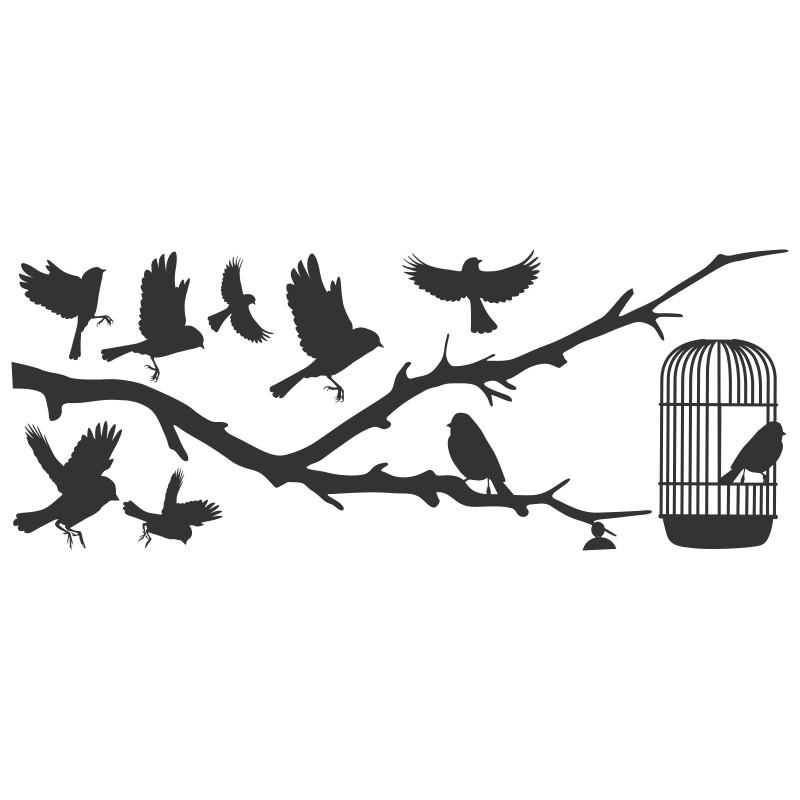 Adesivo de Parede Silhueta pássaros voando
