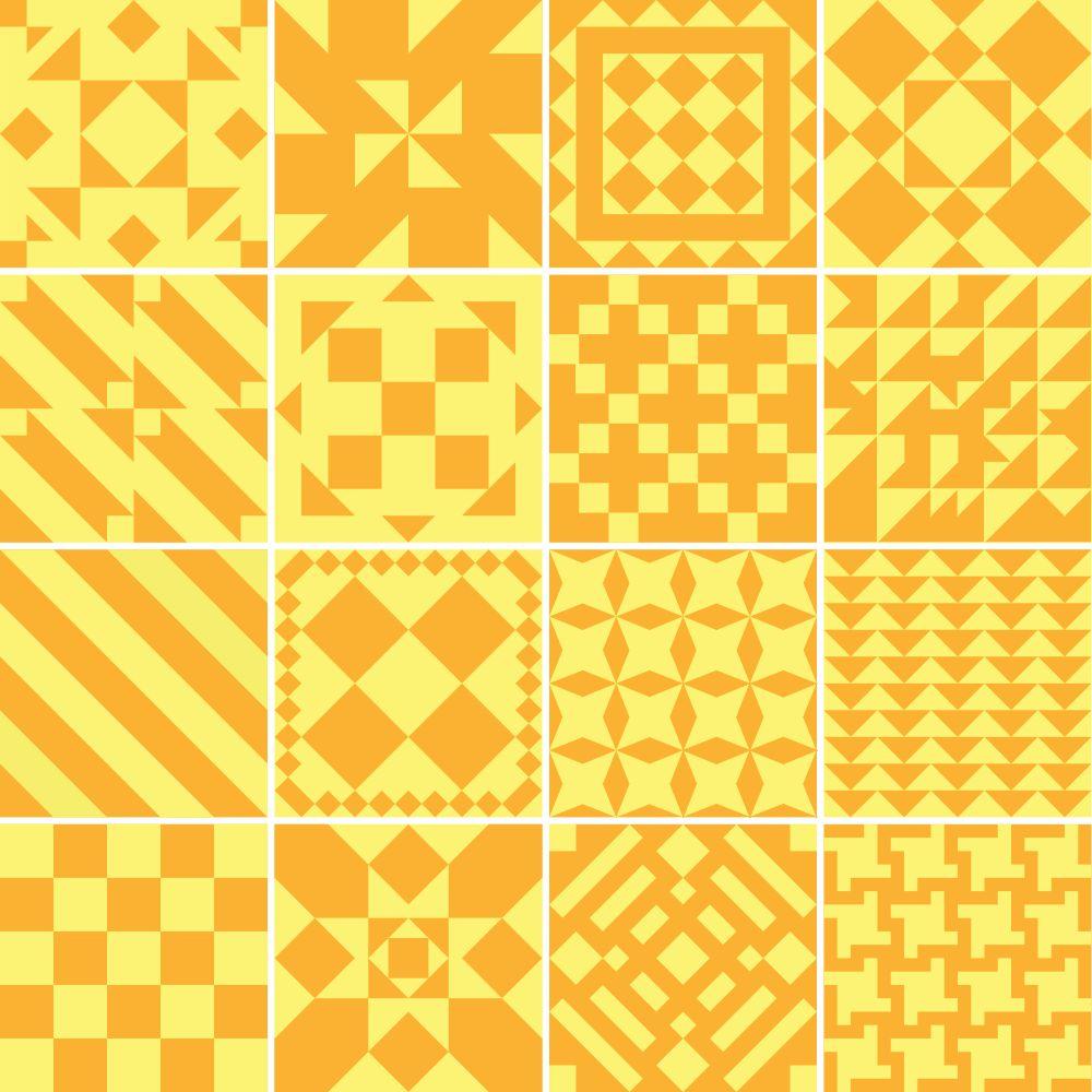 Adesivo para Azulejo Amarelo e Laranja