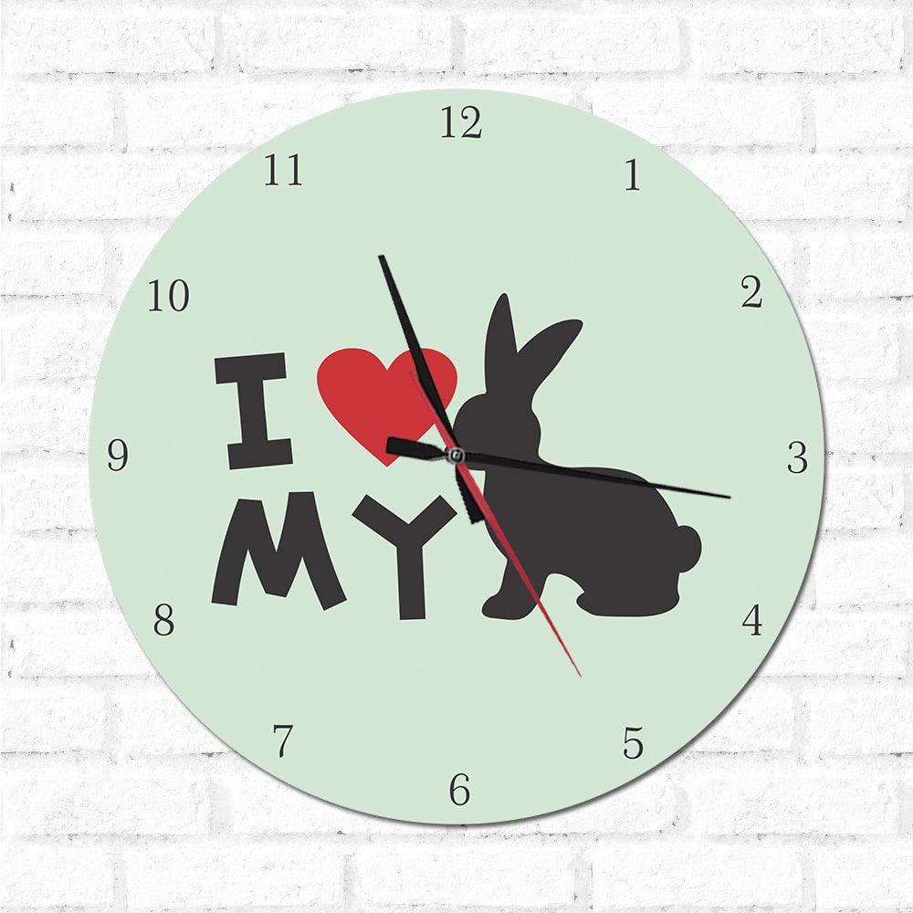 Relógio Decorativo I love My Rabbit
