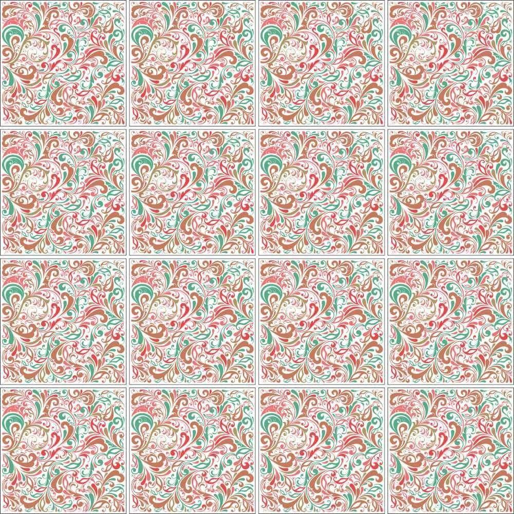 OUTLET - 1 Kit Adesivo para Azulejo Floral Atraente 20x20 cm