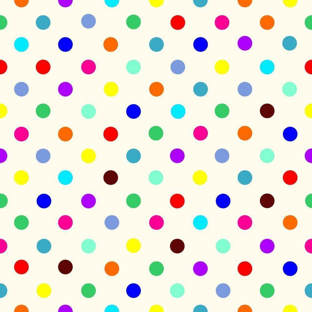 OUTLET - 1 Rolo de Papel de Parede Bolinhas Coloridas 0,60 x 3,00 metros