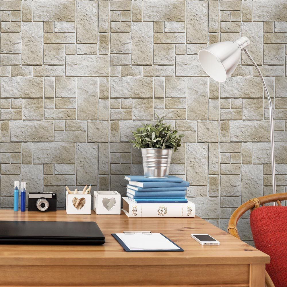 OUTLET - 1 Rolo de Papel de Parede Pedras Fundo Branco 3 0,60 x 2,50 metros