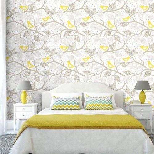 OUTLET - 1 Rolo de Papel de Parede Yellow Birds 0,58 x 1,95 metros
