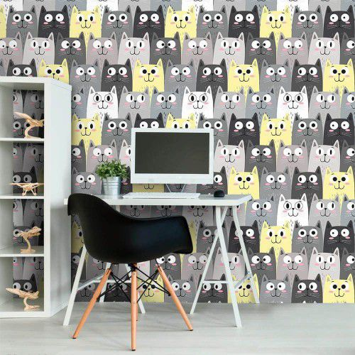 OUTLET - 2 Rolos de Papel de Parede Faces Cats 0,58 x 1,10 metros