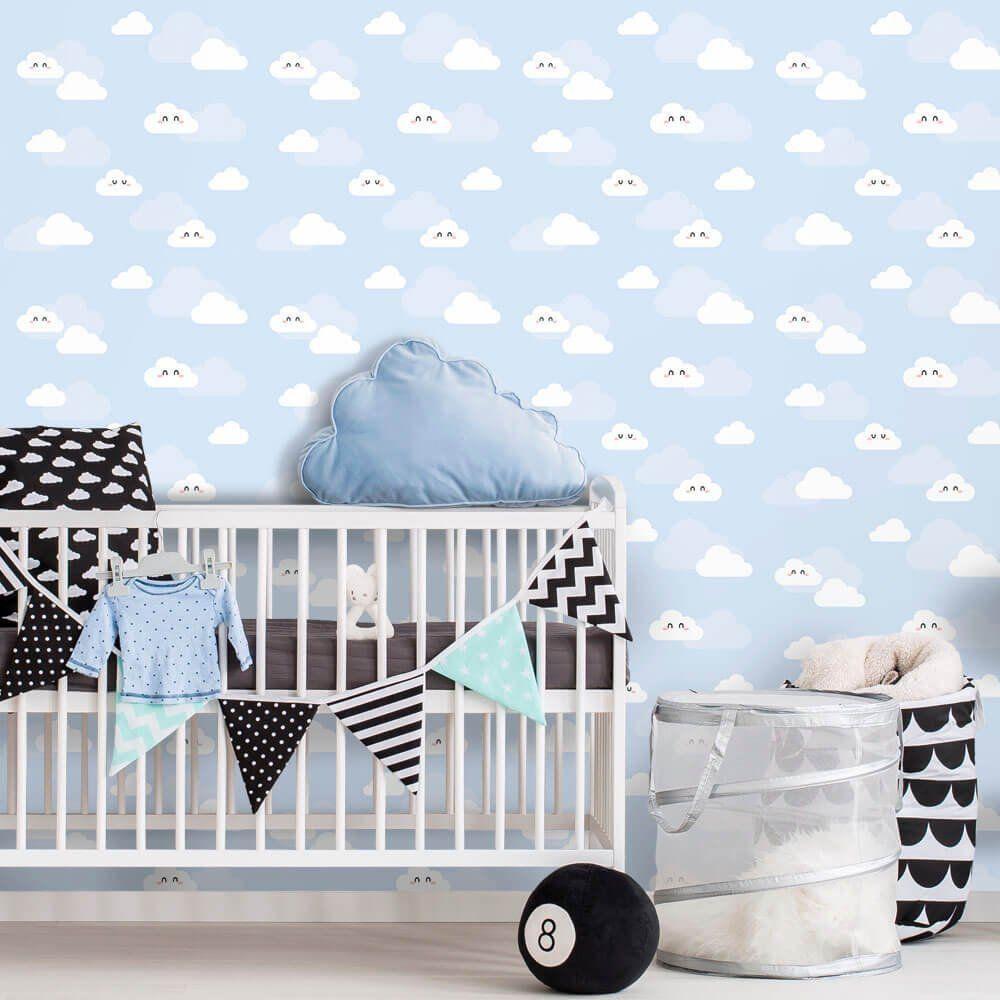 OUTLET - 2 Rolos de Papel de Parede Nuvens Clean Boy 0,60 x 1,50 metros