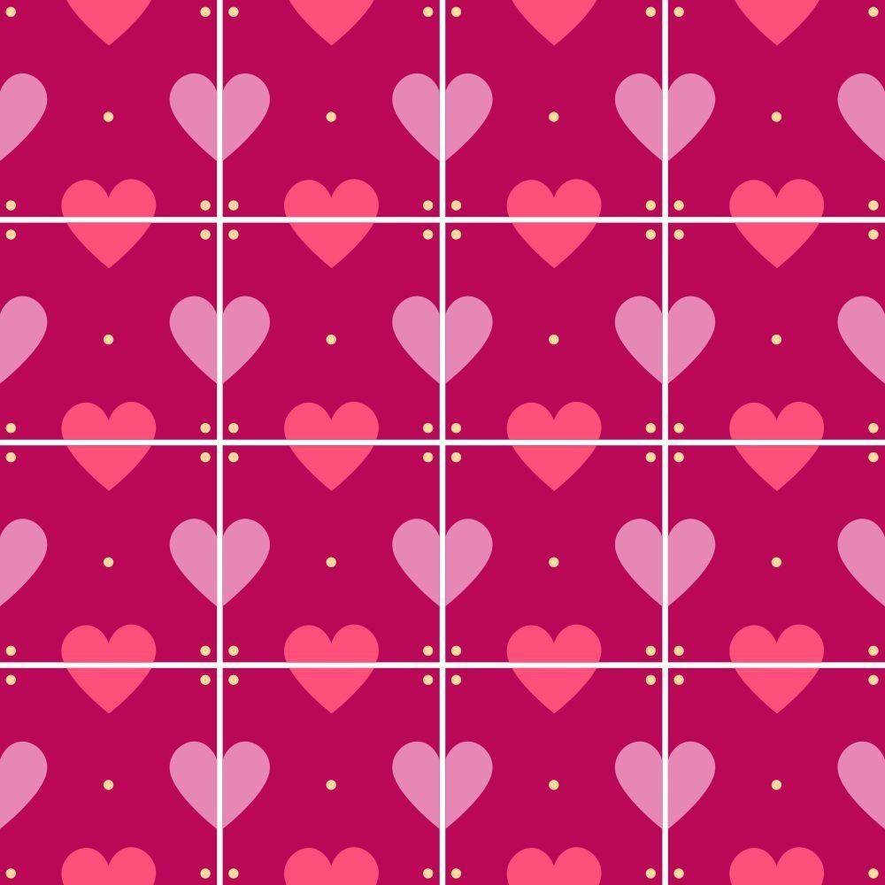 OUTLET - 3 Kits Adesivo para Azulejo Amor de Corações 20x20 cm