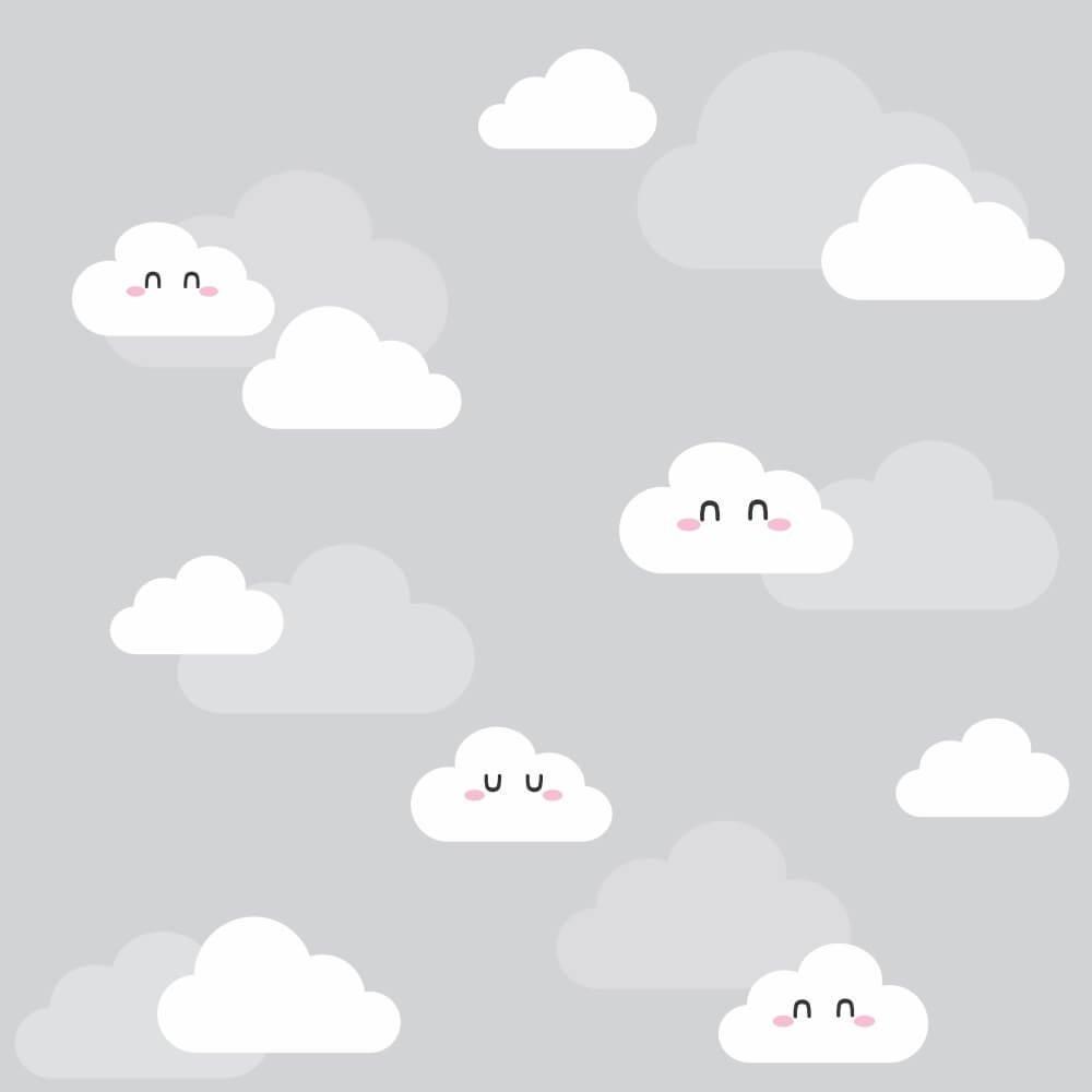 OUTLET - 3 Rolos de Papel de Parede Nuvens Clean 0,60 x 2,50 metros