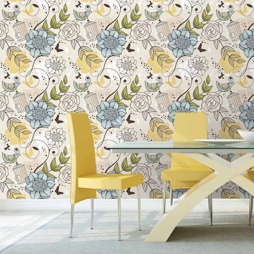 OUTLET - Papel de Parede Floral Aldan 0,58 x 2,30 metros