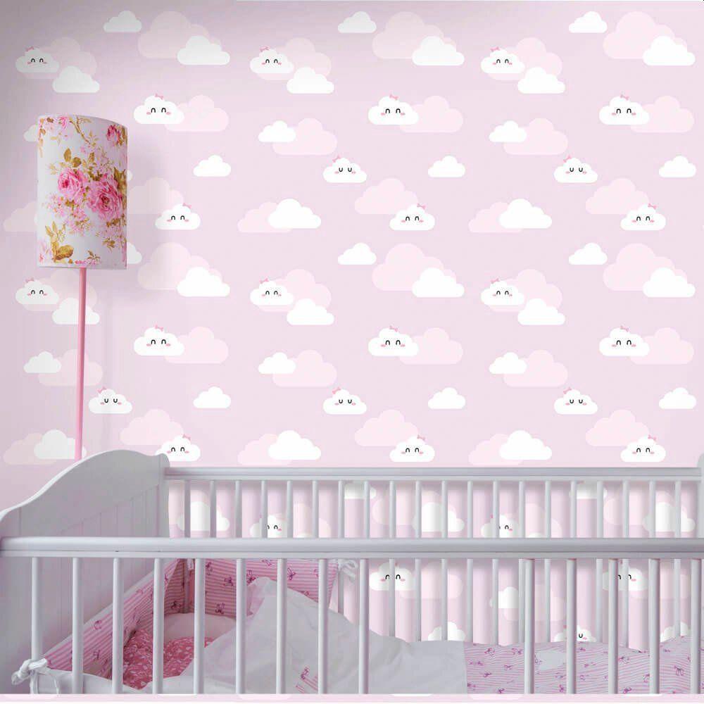 OUTLET - Papel de Parede Nuvens Clean Girl 0,58 x 1,50 metros